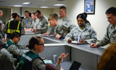 (U.S. Air Force photo/Christopher DeWitt) Members of the 50th Space Wing participate in a mock deployment line during exercise Opinicus Vista 16-3 at Schriever Air Force Base, Colorado, Thursday, Oct. 13, 2016. The exercise was held to test and evaluate the readiness and emergency response of the installation.
