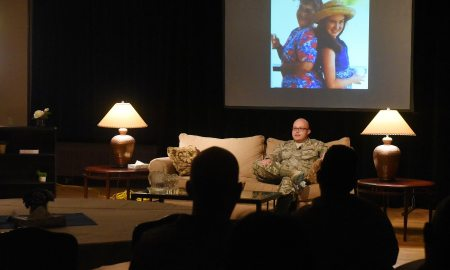 (U.S. Air Force photo by David Meade) PETERSON AIR FORCE BASE, Colo. — Tech. Sgt. Alexander Schaub, 721st Communications Squadron NCO in charge of cyber transport operations, shares his personal story during the Storytellers event at The Club, Nov. 3, 2016, on Peterson Air Force Base, Colo. Schaub spoke about the mental, verbal and emotional abuse he experienced growing up, how it affected him in the long run and how seeing a mental health professional turned his life around.