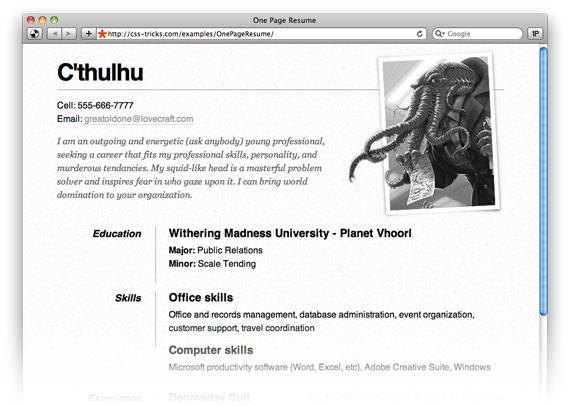 html resume example
