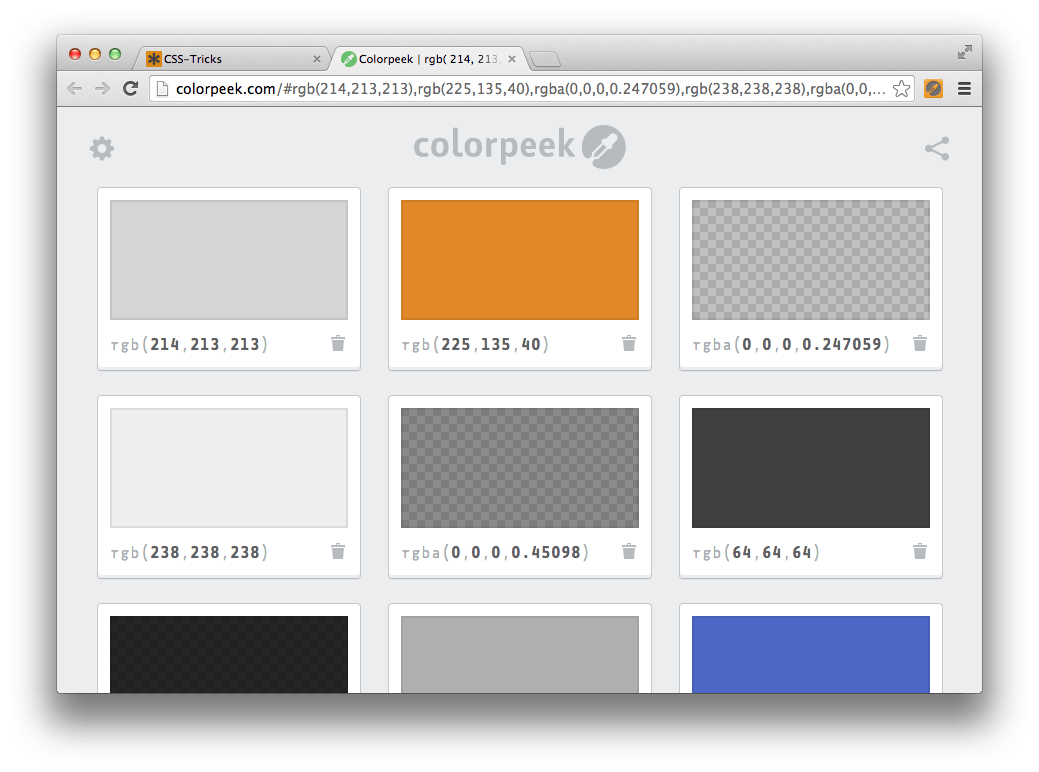 Some of the background color values used on css tricks