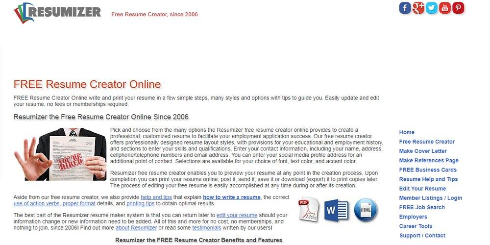 Free Online Resume Builders Pixxel