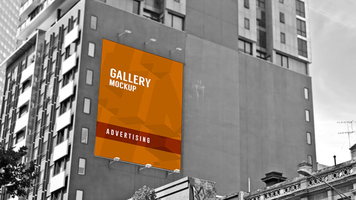 Cms Drupal Outdoor Large Poster Mockup On Building Advertising Wall