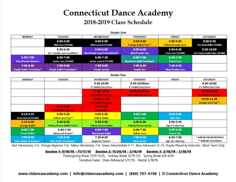 Connecticut Dance Academy Class Schedule