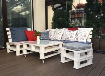 Idees Salon En Palettes | Élégant Table Jardin Avec Banc Salon De ...