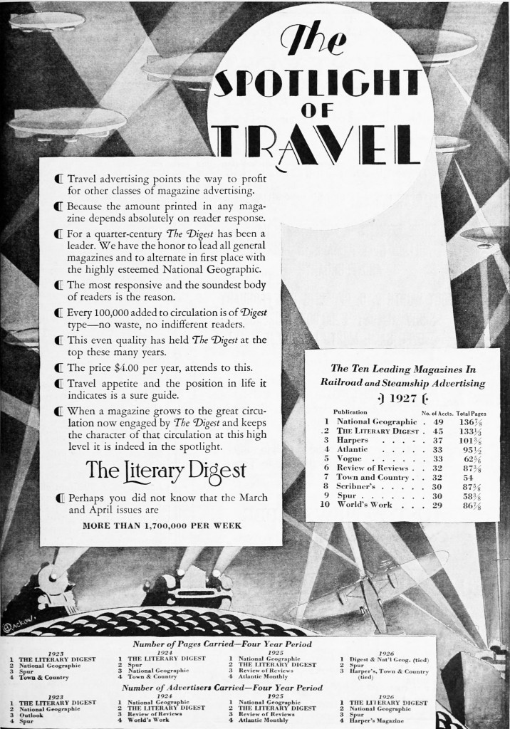 The Literary Digest Travel Advertising circa 1928 -