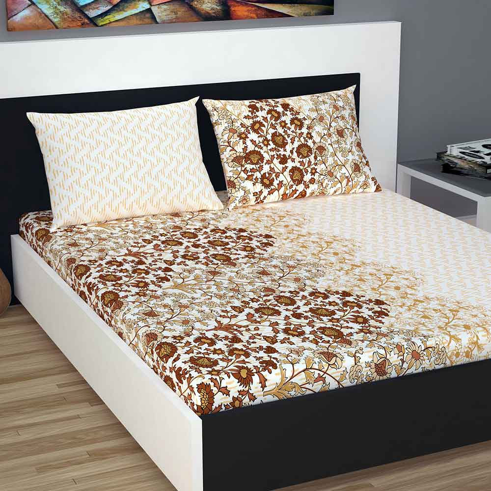 Double Bed 100 Divine Casa 100 Double Bed Sheet With 2 Pillow Covers Cotton 144