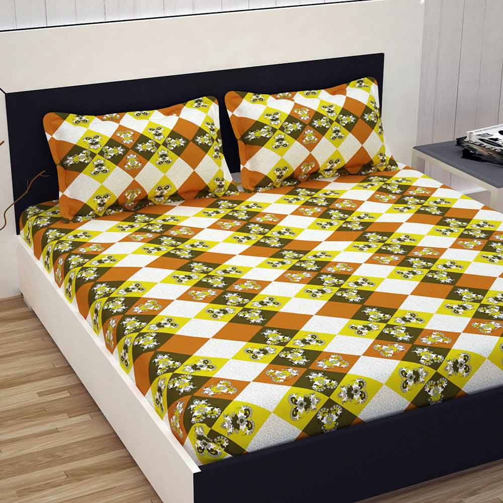 Double Bed 100 Divine Casa 100 Cotton Premium 144 Tc Double Bed Sheet With 2