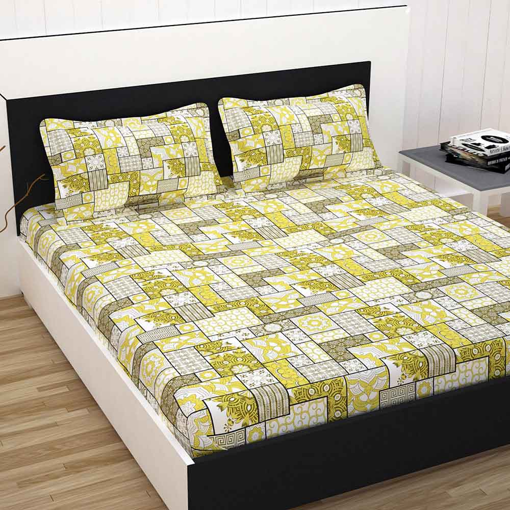 Double Bed 100 Divine Casa 100 Cotton Premium Double Bed Sheet With 2 Pillow