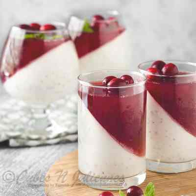 Dragon fruit-Yogurt Pannacotta with Balsamic Cranberry Jelly