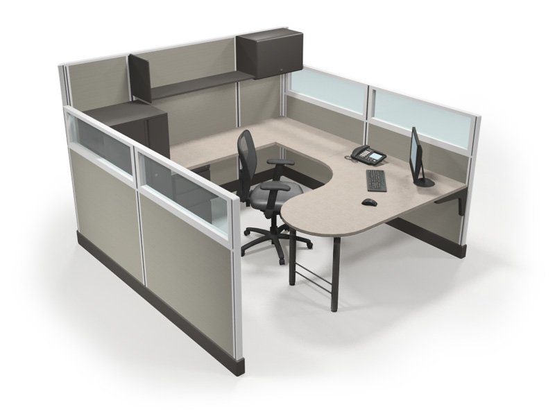 67quot 839 X 839 Office Cubicle W Glass Tiles Peninsula