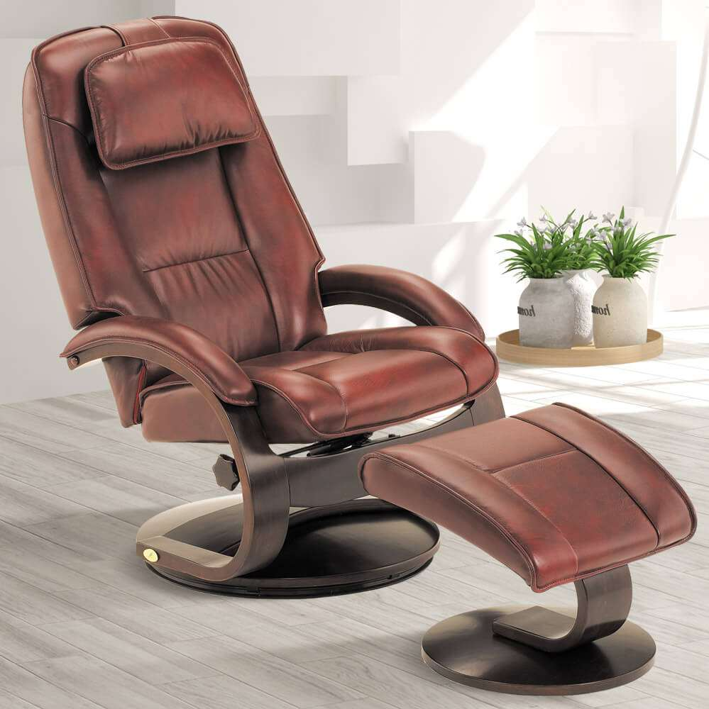 Chair Leather Reclining Swivel Rainier Swivel Leather Recliner
