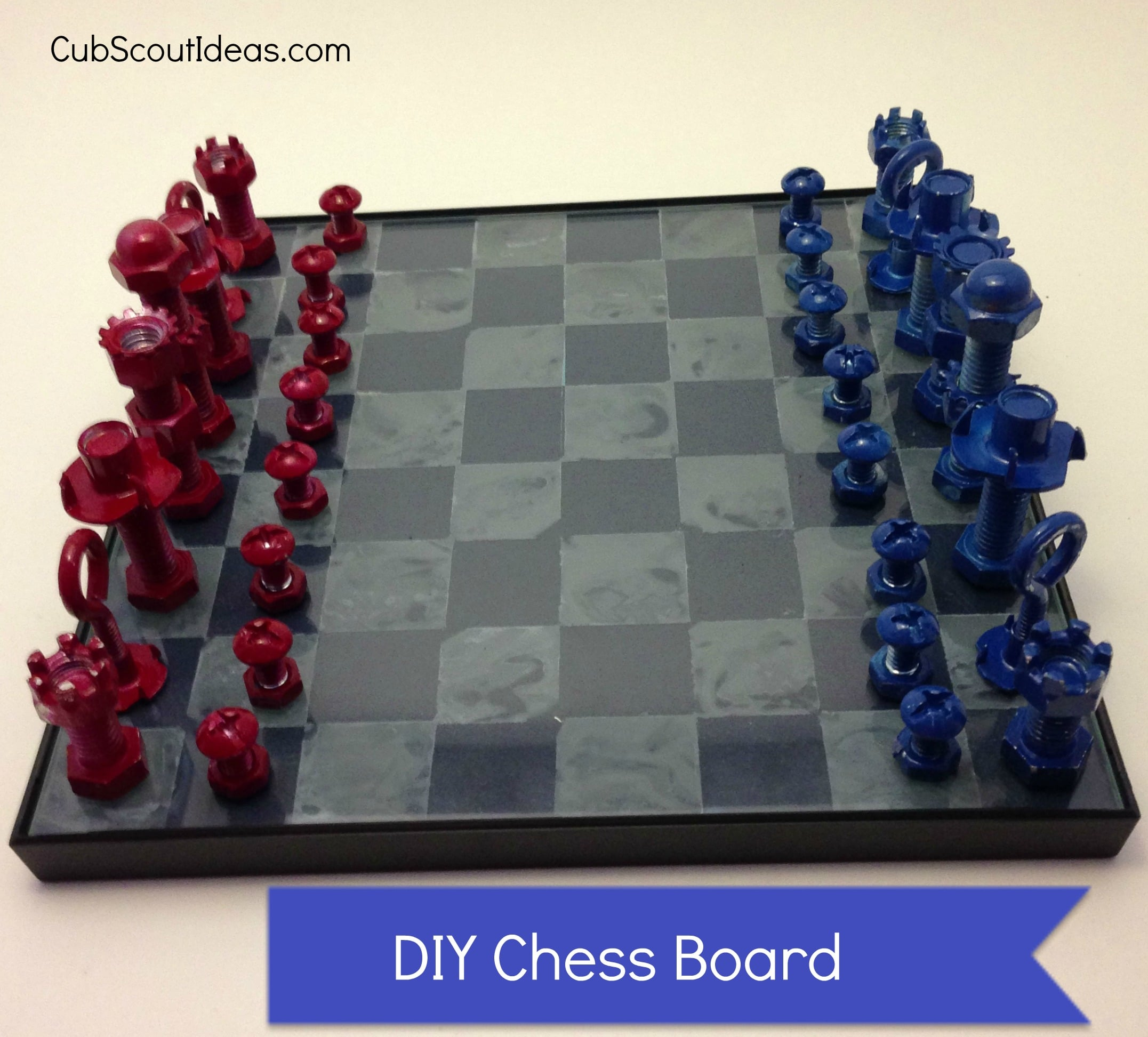 Diy Wood Chess Board How To Make A Chess Set With Nuts And Bolts Cub Scout Ideas