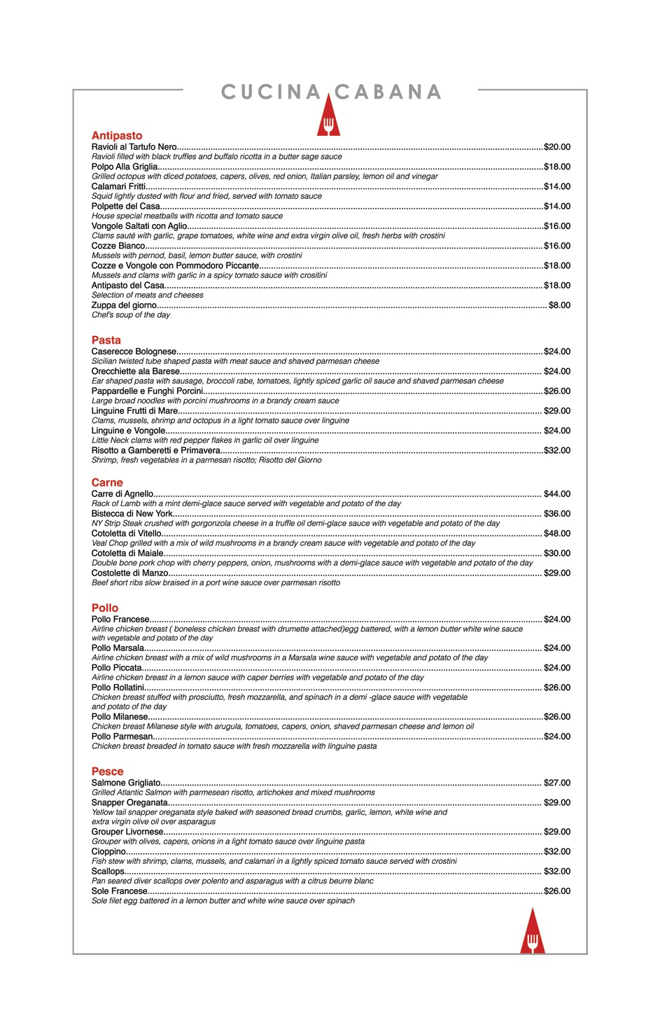 Cucina Cabana Owner Menus At Cucina Cabana Restaurant View Our Menu