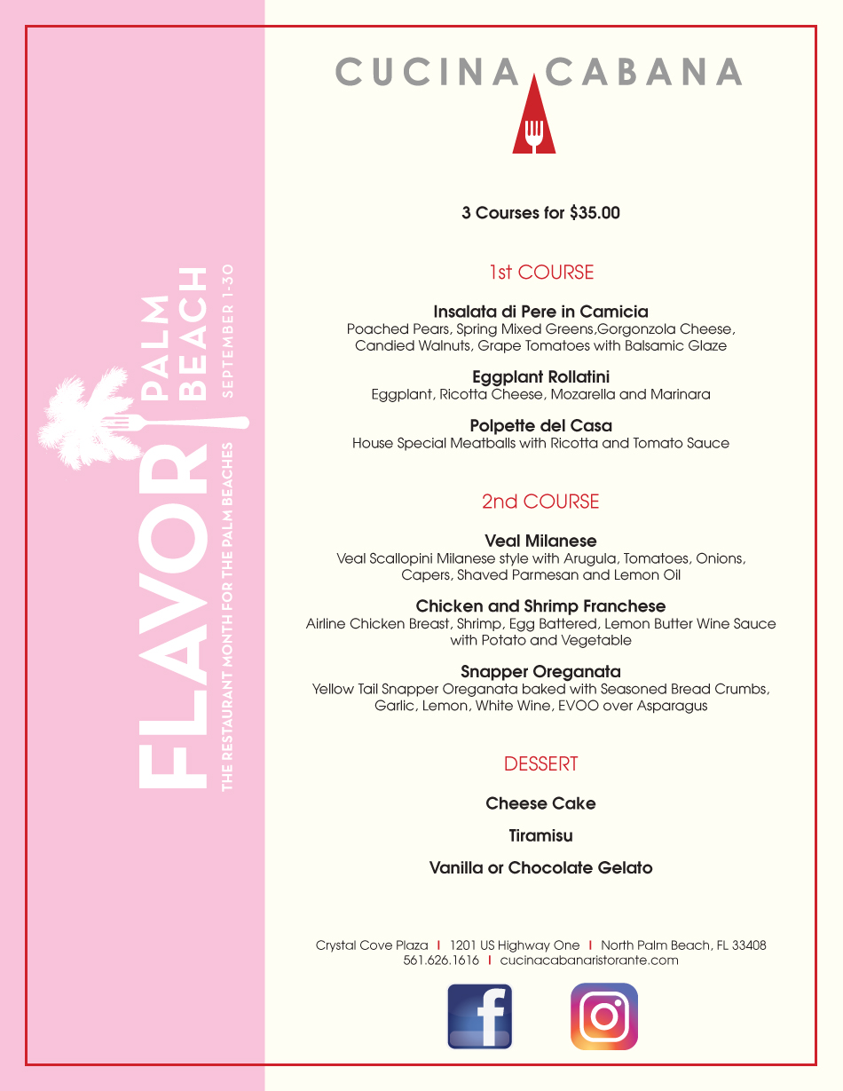 Cucina Cabana Owner Cucina Flavor Palm Beach Menu At Cucina Cabana View Our Menu