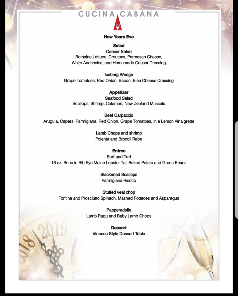 Cucina Cabana Owner New Years Eve Menu At Cucina Cabana Restaurant View Our Menu