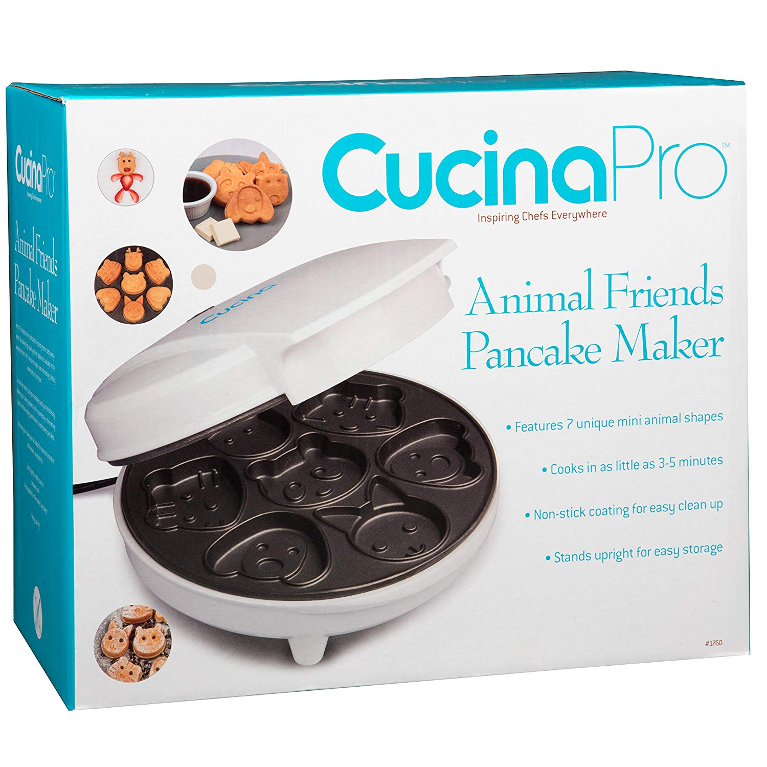 Cucinapro Waffle Animal Mini Waffle Maker Makes 7 Fun Different Shaped Pancakes