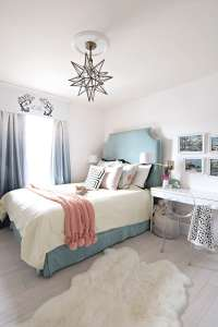 Teal, turquoise, coral and yellow girls bedroom ...