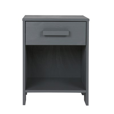 Dennis Kids Bedside Table With Drawer In Steel Grey Woood - Woood Bed Dennis