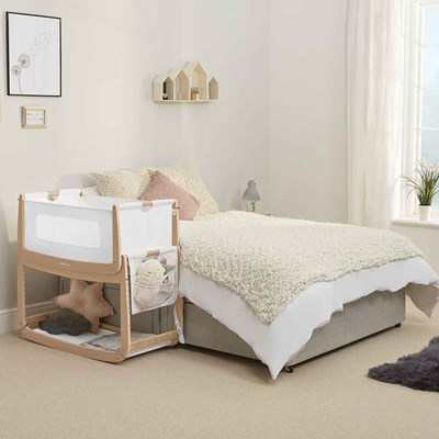 Natural Timber Cot Snuzpod 3 Bedside Crib 3 In 1 With Mattress In Natural Timber
