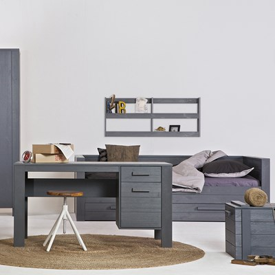Dennis Woood Dennis Day Bed In Steel Grey With Optional Trundle Drawer