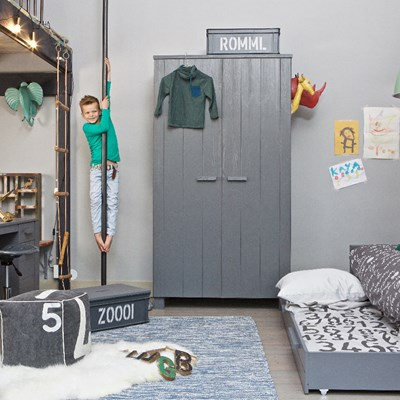 Dennis Woood Dennis Kids Contemporary Pine Wardrobe In Steel Grey