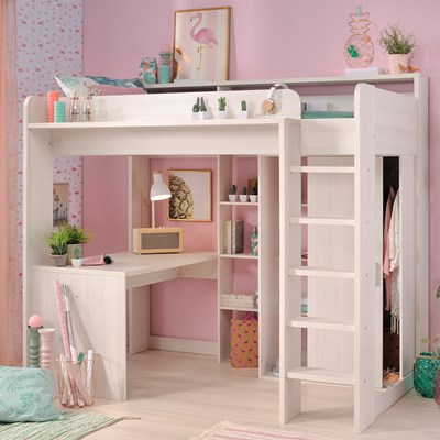 Bed With Desk Parisot Higher Kids High Sleeper Bed With Desk Wardrobe