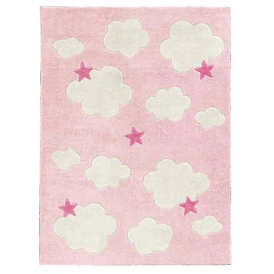 Baby Teppich Rosa Clouds & Stars Childrens Rug In Pink - Kids Concept