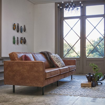 Sofa Rodeo Rodeo 3 Seater Leather Sofa In Tan By Bepurehome