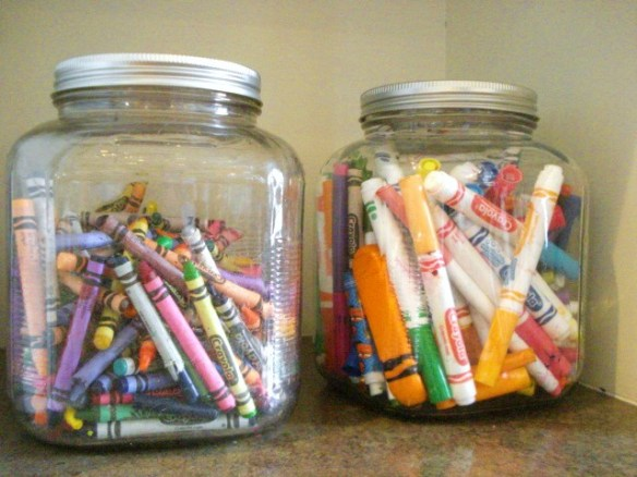 organization jars for markers and crayons