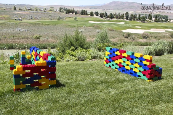 outdoor activities for kids:lego forts for water balloon fights