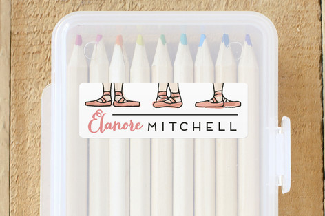 kids personalized name labels | ballet feet