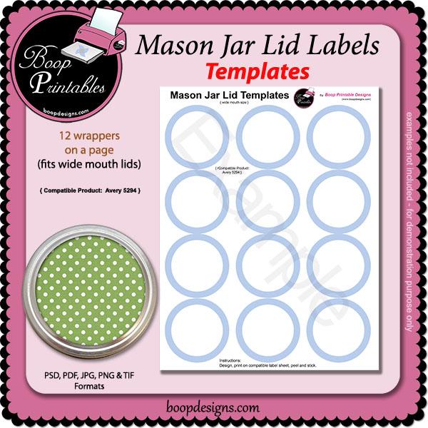 Jar Lid Label TEMPLATES - 5294 by Boop Printable Designs Jar Lid