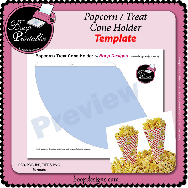 Popcorn or Treat Cone Shape Wrapper - TEMPLATE by Boop Printable