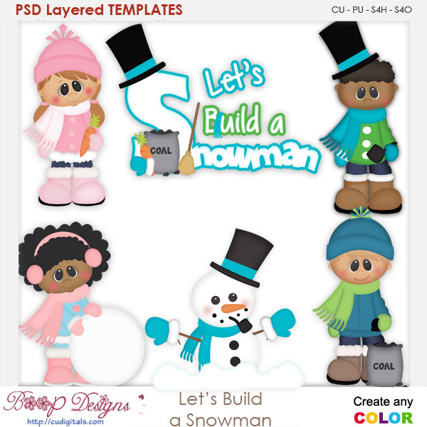 Lets Build A Frosty Snowman Layered Element Templates Lets Build A