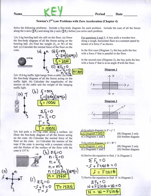 KEY Newton\u0027s 2nd Law Problems with Zero Acceleration - Physics and
