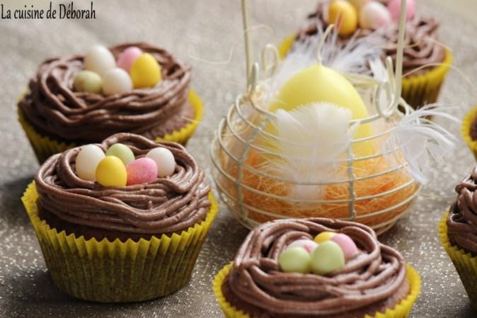Cupcakes nids de Pâques tout choco - La cuisine de Déborah