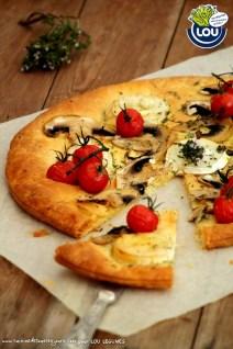 TARTE FINE AUX CHAMPIGNONS & CHEVRE - Cuisine de tous les jours pour Lou Légumes