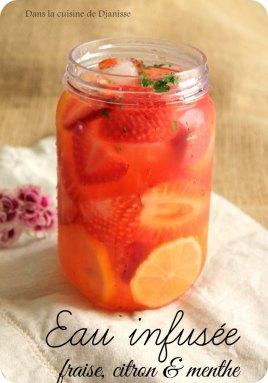 Eau aromatisée à la fraise, citron et menthe