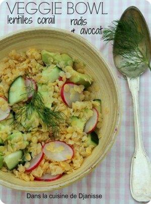 Veggie bowl aux lentilles Corail