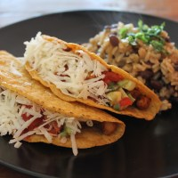 Vegan Mexican fiesta! Chickpea tacos with fresh avocado salsa and a side of rice & black beans