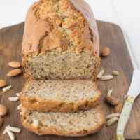 Almond banana bread. My regular recipe is taken to a lighter and moister level with the use of new Dream Ultimate Almond