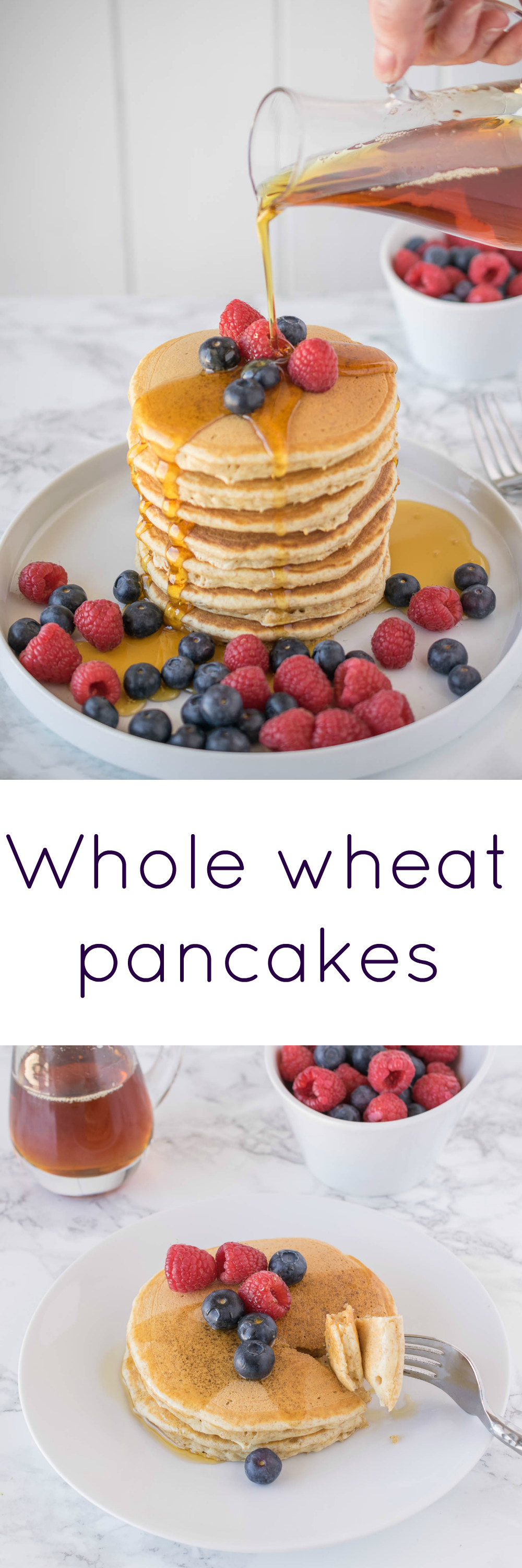 Whole wheat pancakes. Light, fluffy and moist with a little honey in ...