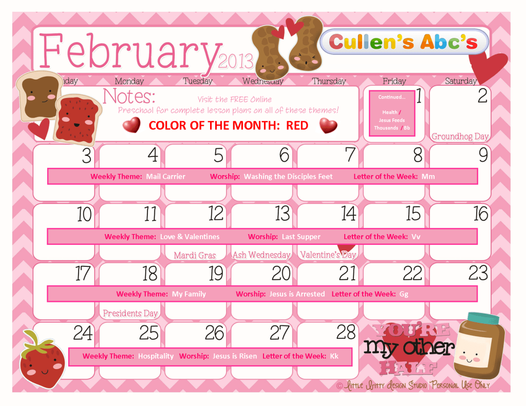 february calendar themes