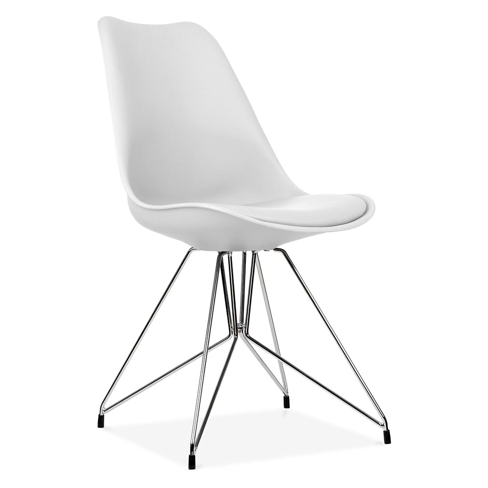 Chaises Blanches Salle A Manger Conforama Eames Inspired White Dining Chair With Geometric Legs