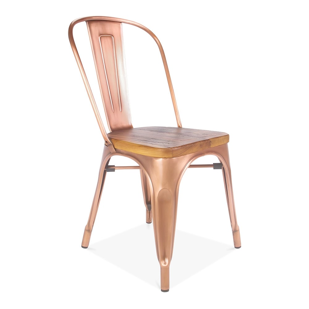 Chaise Tolix Light Copper Side Chair With Natural Wood Seat | Cult