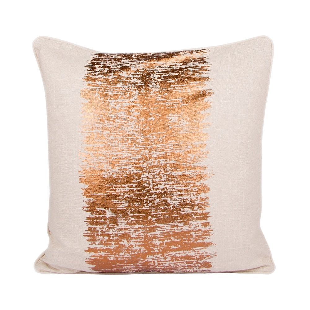 Kissenbezug Stern Malini Cream And Copper Metallic Stripe Cotton Cushion