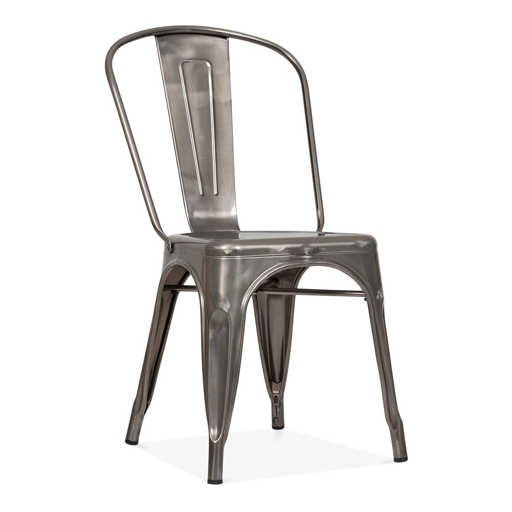 Chaise Tolix Tolix Style Gunmetal Steel Industrial Side Chair | Cult