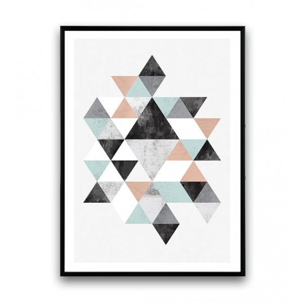 Metall Nachttisch Cult Living Geometric Graphic Triangle Art Framed Print
