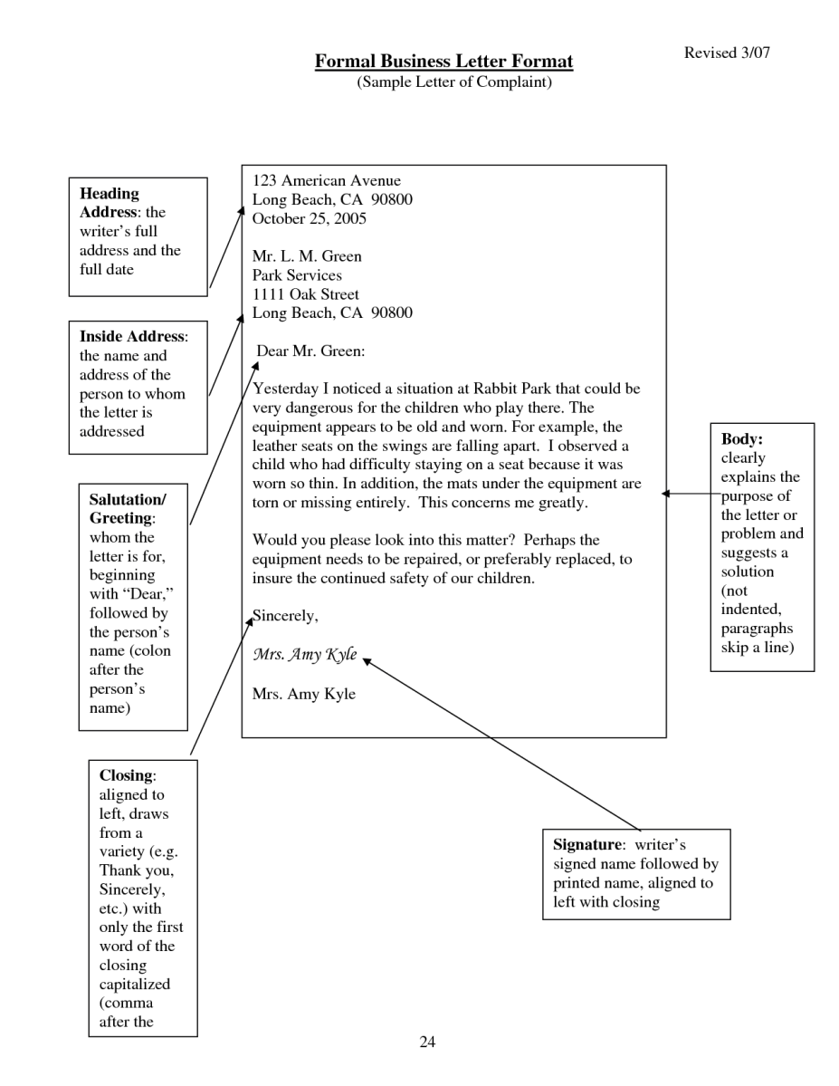 formal business letter format example