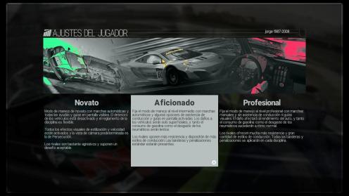 La pantalla de selección de modos